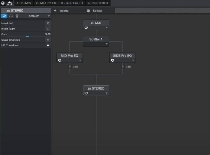 Fertiges Routing M:S-Equalizer in Studio One