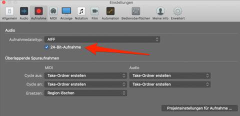 24 bit aufnahme aktivieren in Logic Pro X