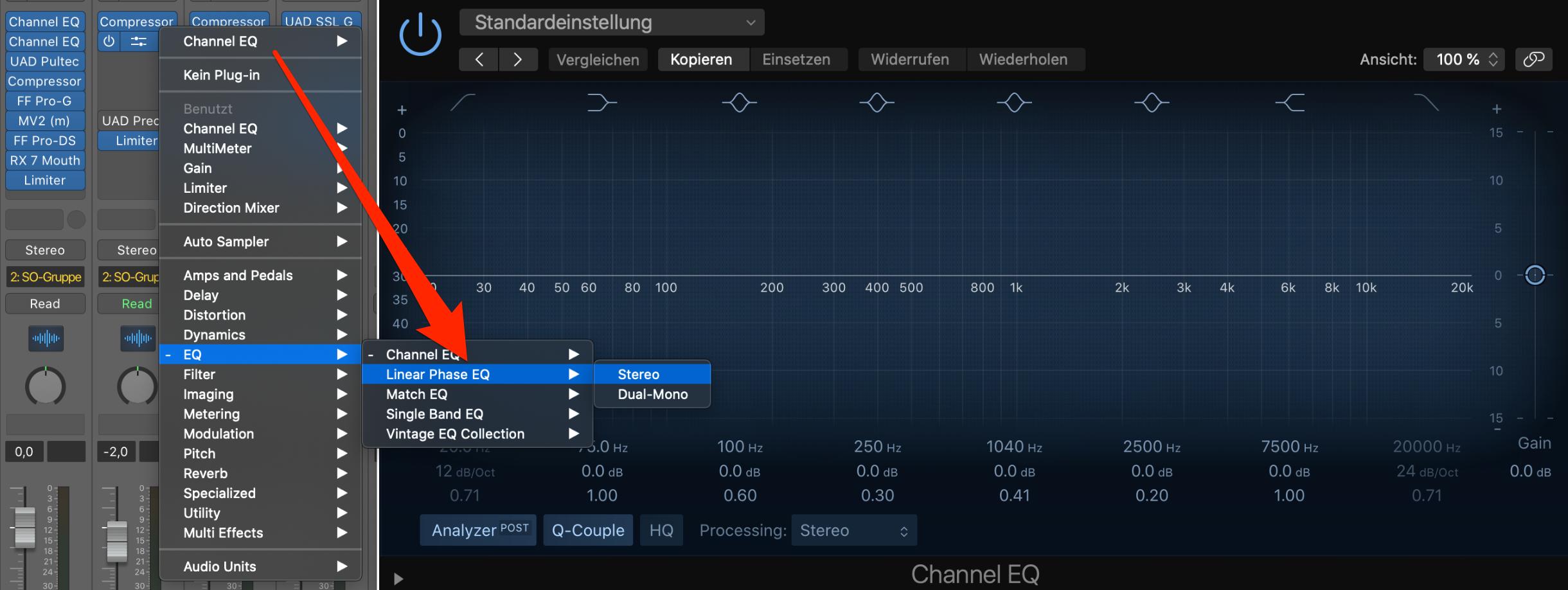 Einfacher Wechsel zwischen CHannel-EQ und Linear Phase EQ in Logic Pro X
