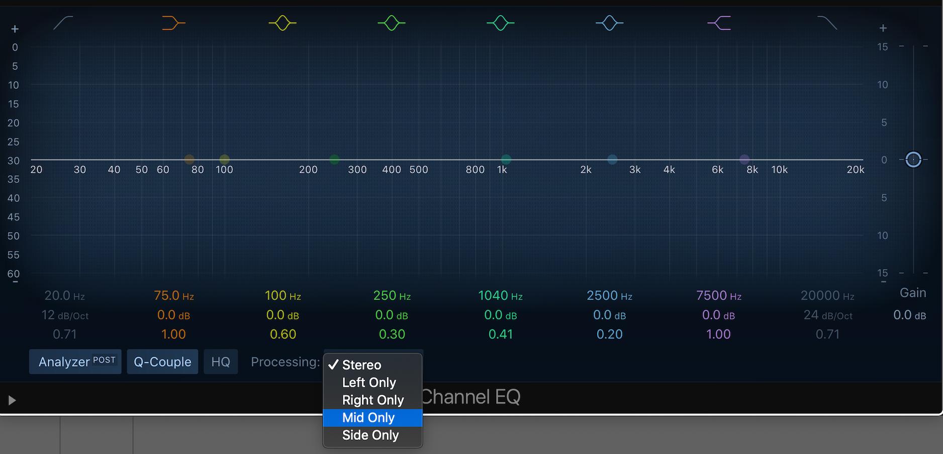Mitte Seite Bearbeitung mit dem Channel EQ in Logic Pro X