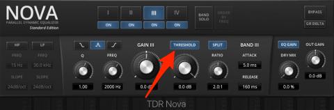 TDR Nova dynamisches Band mit dem Threshold Knopf aktivieren